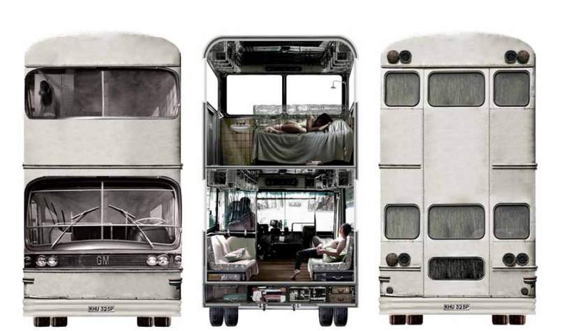 An existing 2 levels bus transformed to a moving Bed and Breakfast complex.
