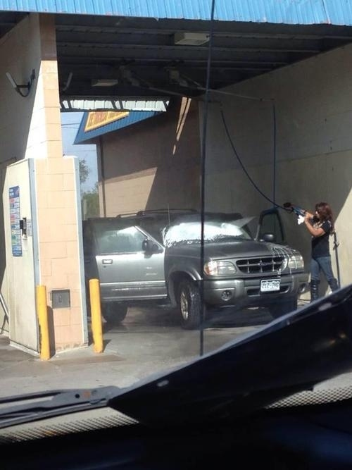8. That's probably not how you should be using a car wash, but knock yourself out.