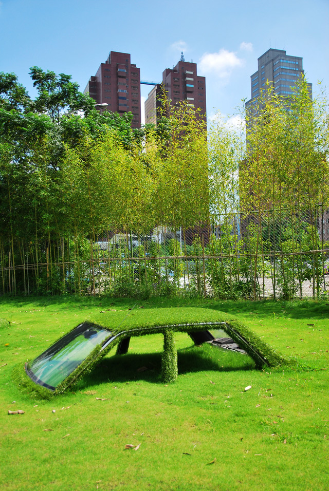 Cars Swallowed by Grass at CMP Block in Taiwan Taiwan installation grass cars