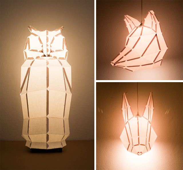DIY Foldable Paper Animal Lights by MostLikely sculpture lighting animals