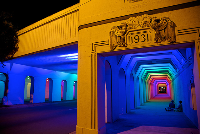 LightRails: A Neglected Railroad Underpass Illuminated by Artist Bill FitzGibbons light installation bridges Alabama
