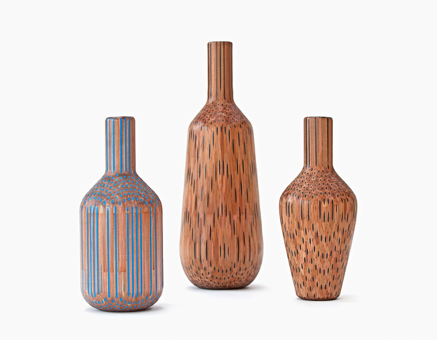 Vases Constructed from Hundreds of Pencils by Studio Markunpoika wood pencils multiples