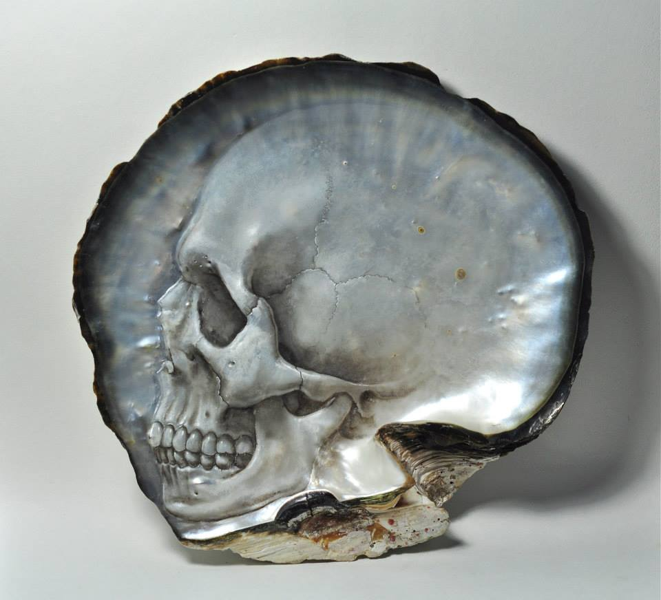 Mother of Pearl Shell Skull Carvings by Gregory Halili skulls shells bas relief anatomy
