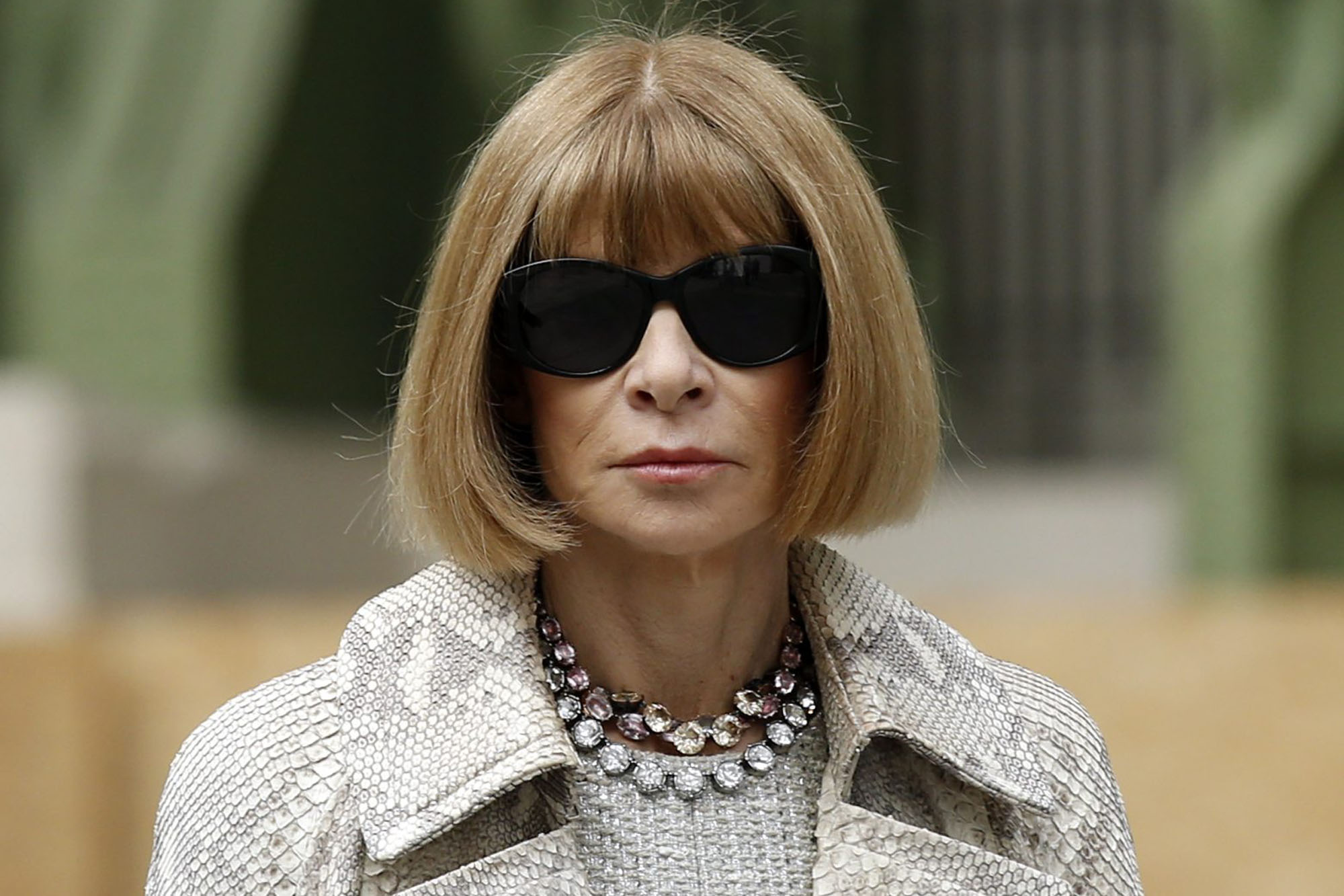 Editor-in-chief of American Vogue Anna Wintour arrives at German designer Karl Lagerfeld's Haute Couture Fall/Winter 2014-2015 fashion show for French fashion house Chanel in Paris