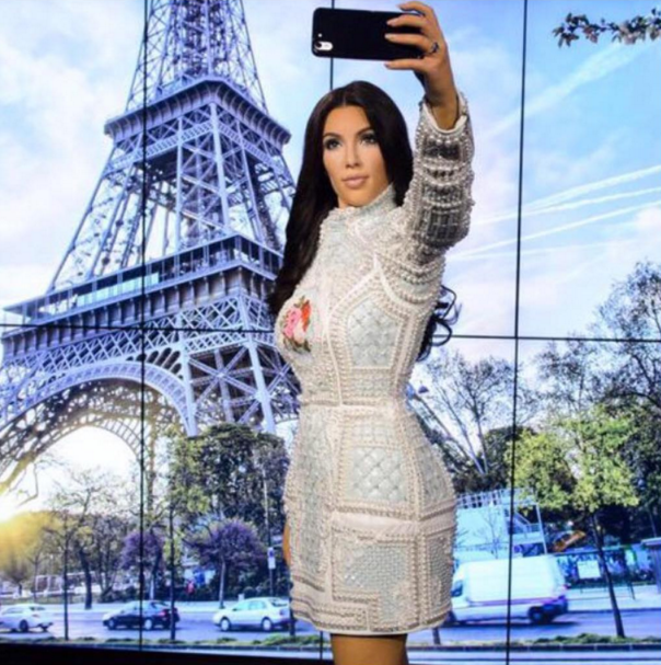 "@kimkardashian ""OMG how amazing is my @MadameTussaudsLondon wax figure!!! It's perfection! Thank you @BalmainParis & @olivier_rousteing for making my fave dress! I can't wait until I can fit into the same dress & go take a selfie with my wax figure!!!! So cool you can actually take a selfie with her!!!"""